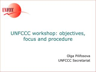 UNFCCC workshop: objectives,  focus and procedure