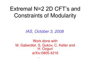Extremal N=2 2D CFT's and Constraints of Modularity