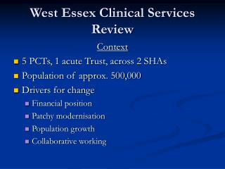West Essex Clinical Services Review