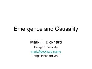 Emergence and Causality
