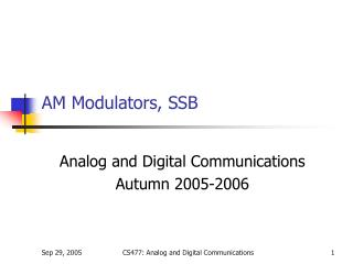 AM Modulators, SSB
