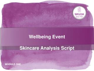 Wellbeing Event   Skincare Analysis Script