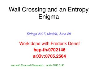 Wall Crossing and an Entropy Enigma