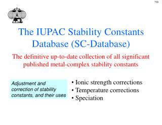 The IUPAC Stability Constants Database (SC-Database)