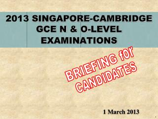 2013 SINGAPORE-CAMBRIDGE GCE N & O-LEVEL EXAMINATIONS