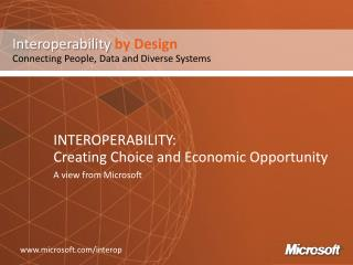 INTEROPERABILITY: Creating Choice and Economic Opportunity