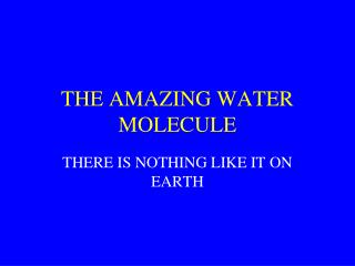 THE AMAZING WATER MOLECULE