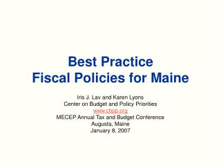 Best Practice  Fiscal Policies for Maine