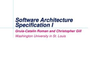 Software Architecture  Specification I