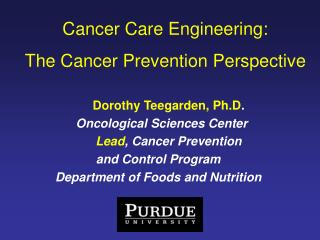 Cancer Care Engineering:  The Cancer Prevention Perspective