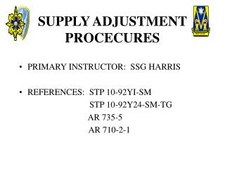 SUPPLY ADJUSTMENT PROCECURES