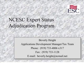 ncesc expert status adjudication program
