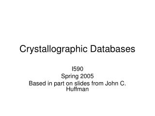 Crystallographic Databases