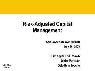 risk-adjusted capital management