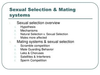 Sexual Selection & Mating systems