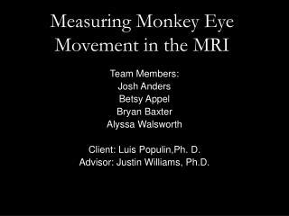 Measuring Monkey Eye Movement in the MRI