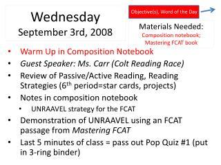Wednesday September 3rd , 2008