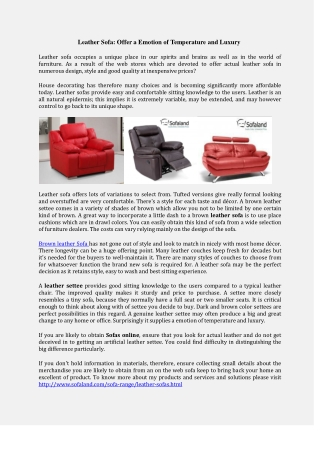 Buy leather sofa online from Sofaland