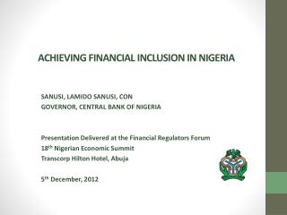 ACHIEVING FINANCIAL INCLUSION IN NIGERIA