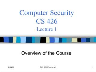 Computer Security  CS 426 Lecture 1