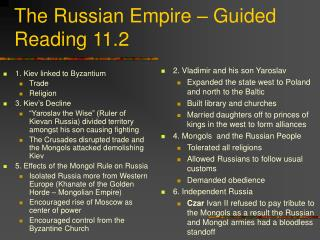 The Russian Empire – Guided Reading 11.2