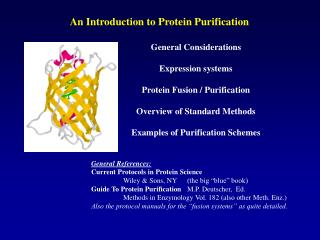 General Considerations Expression systems Protein Fusion / Purification Overview of Standard Methods Examples of Purifi