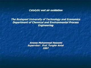 Arezoo Mohammad Hosseini Supervisor: Prof. Tungler Antal 2007
