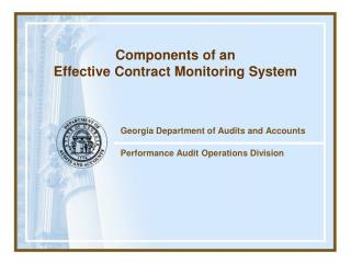 Georgia Department of Audits and Accounts Performance Audit Operations Division
