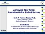 Achieving Your Aims:  Promoting Online Student Success