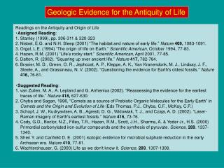 Geologic Evidence for the Antiquity of Life
