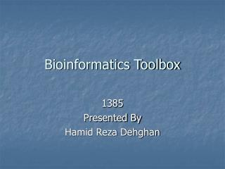 Bioinformatics Toolbox