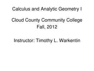 Calculus and Analytic Geometry I