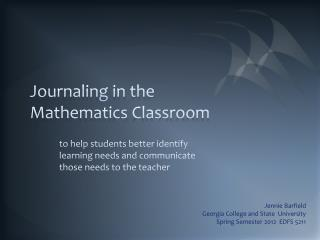 Journaling in the Mathematics Classroom