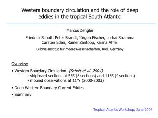 Western boundary circulation and the role of deep eddies in the tropical South Atlantic