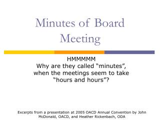 minutes of board meeting