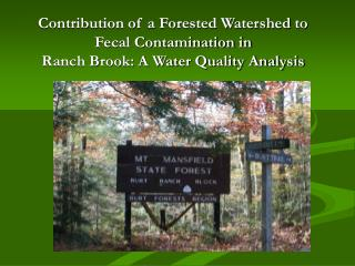 Contribution of a Forested Watershed to  Fecal Contamination in  Ranch Brook: A Water Quality Analysis