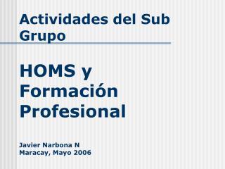Actividades del Sub Grupo HOMS y Formación Profesional Javier Narbona N Maracay, Mayo 2006