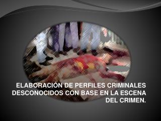 ELABORACIÓN DE PERFILES CRIMINALES DESCONOCIDOS CON BASE EN LA ESCENA DEL CRIMEN.
