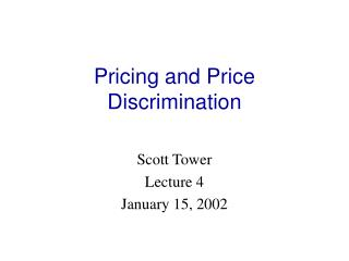 Pricing and Price Discrimination