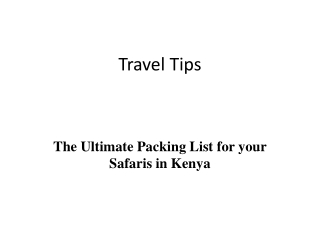 The Ultimate Packing List for your Safaris in Kenya