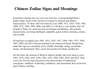 Chinese Zodiac Signs and Meanings