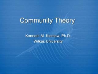 Community Theory