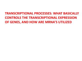 TRANSCRIPTIONAL PROCESSES: WHAT BASICALLY CONTROLS THE TRANSCRIPTIONAL EXPRESSION OF GENES, AND HOW ARE MRNA'S UTILIZED