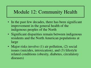 Module 12: Community Health