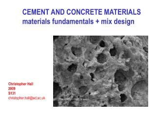 CEMENT AND CONCRETE MATERIALS materials fundamentals + mix design