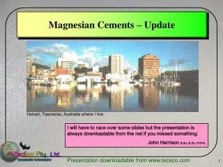 Magnesian Cements – Update