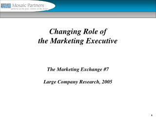 Changing Role of the Marketing Executive The Marketing Exchange #7 Large Company Research, 2005
