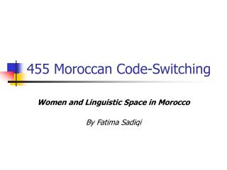 455 Moroccan Code-Switching