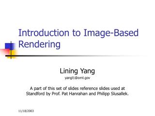 Introduction to Image-Based Rendering