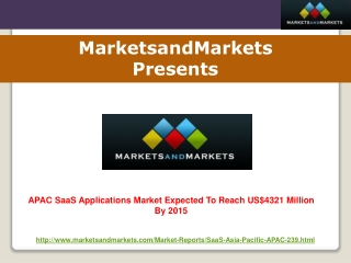 APAC SaaS Applications Market Worth US$4321 Million By 2015